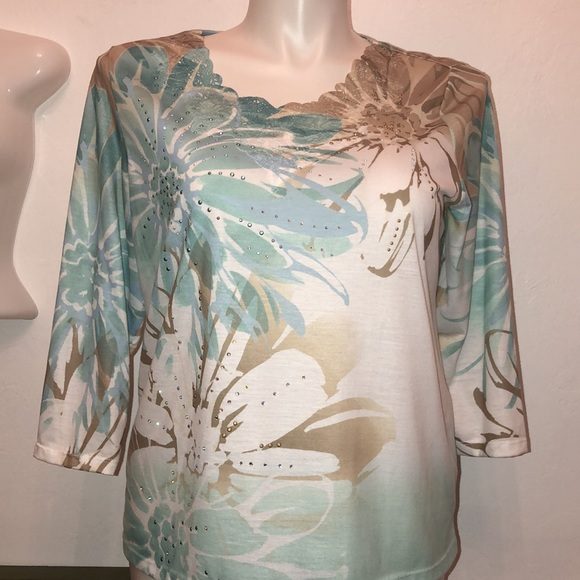 Alfred Dunner 3/4 Sleeve Lace & Rhinestone Blouse